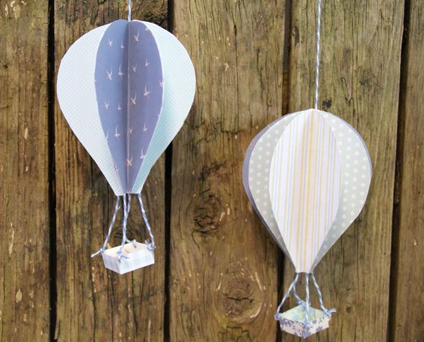 Handmade 3D Paper Hot Air Balloons With Free Template
