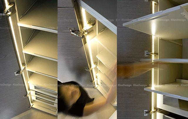 Oświetlenie Wnętrza Szafy Szuflad Półek Profilami Led