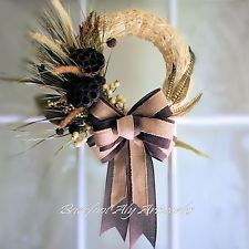 Rustic & Refined Nature Inspired Fall Wreath with Seed Pods, Grass & Burlap Bow