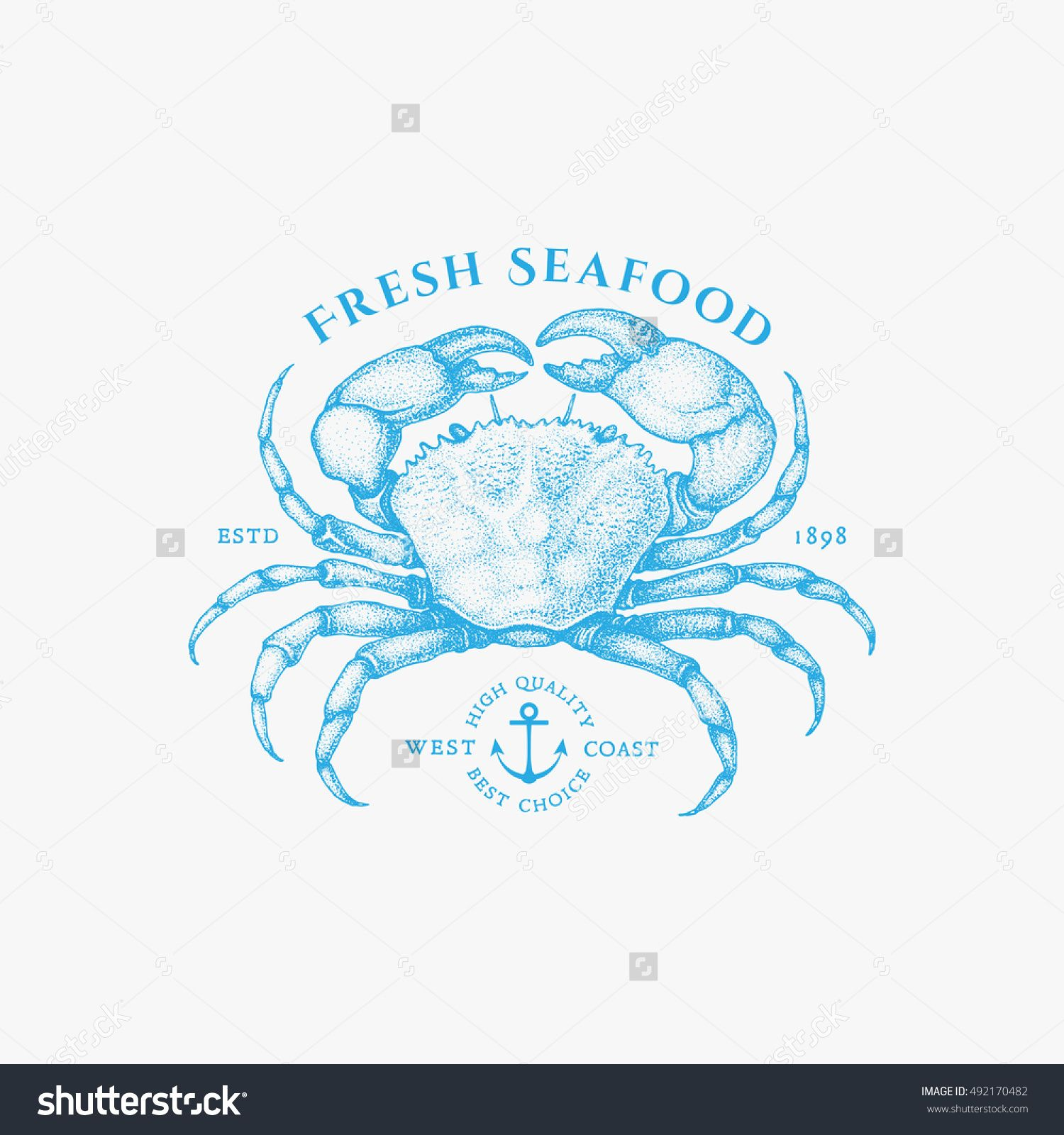 Vintage label with ink hand drawn sketch of crab. Vector ...