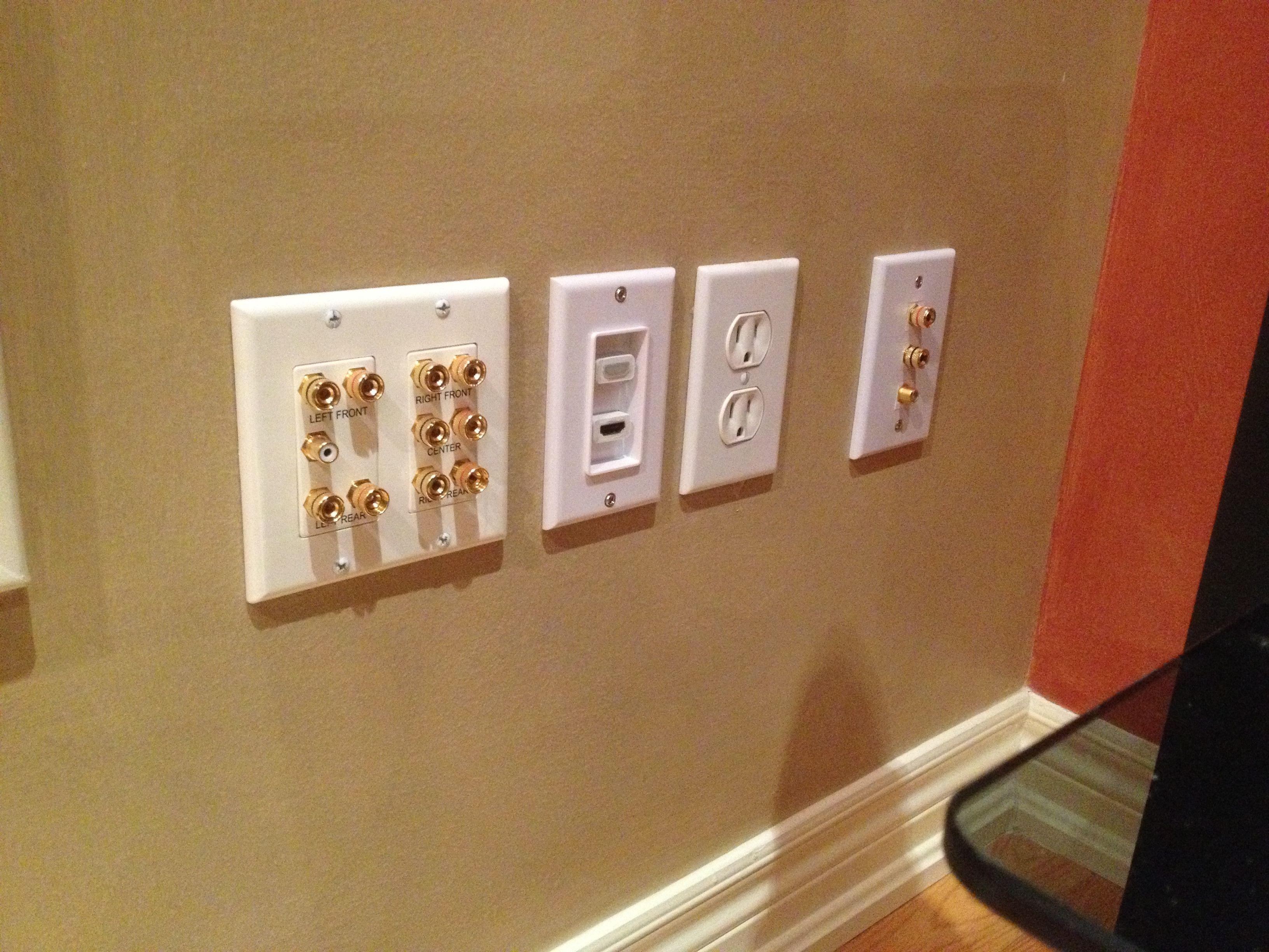 5 1ch Sound Distribution Banana Plug Wall Plate 2 Port Hdmi Wall Plate 2 Post Banana Plug Keysto Plates On Wall Home Theater Installation Home Theater Setup