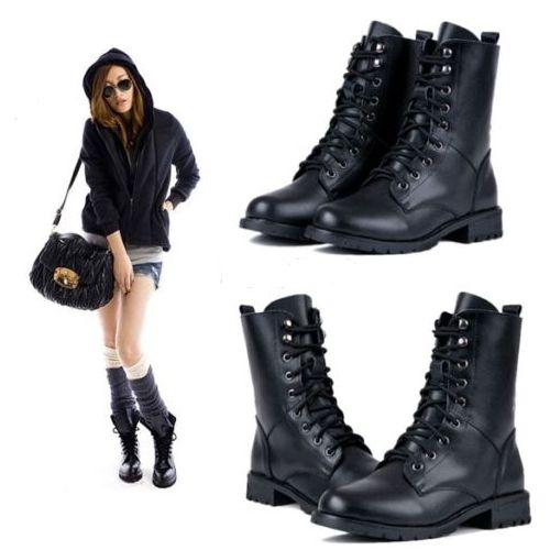 Botte Femme Noir Punk Chevalier Bottine Lacets Botte Plate Mes Shoes Pinterest