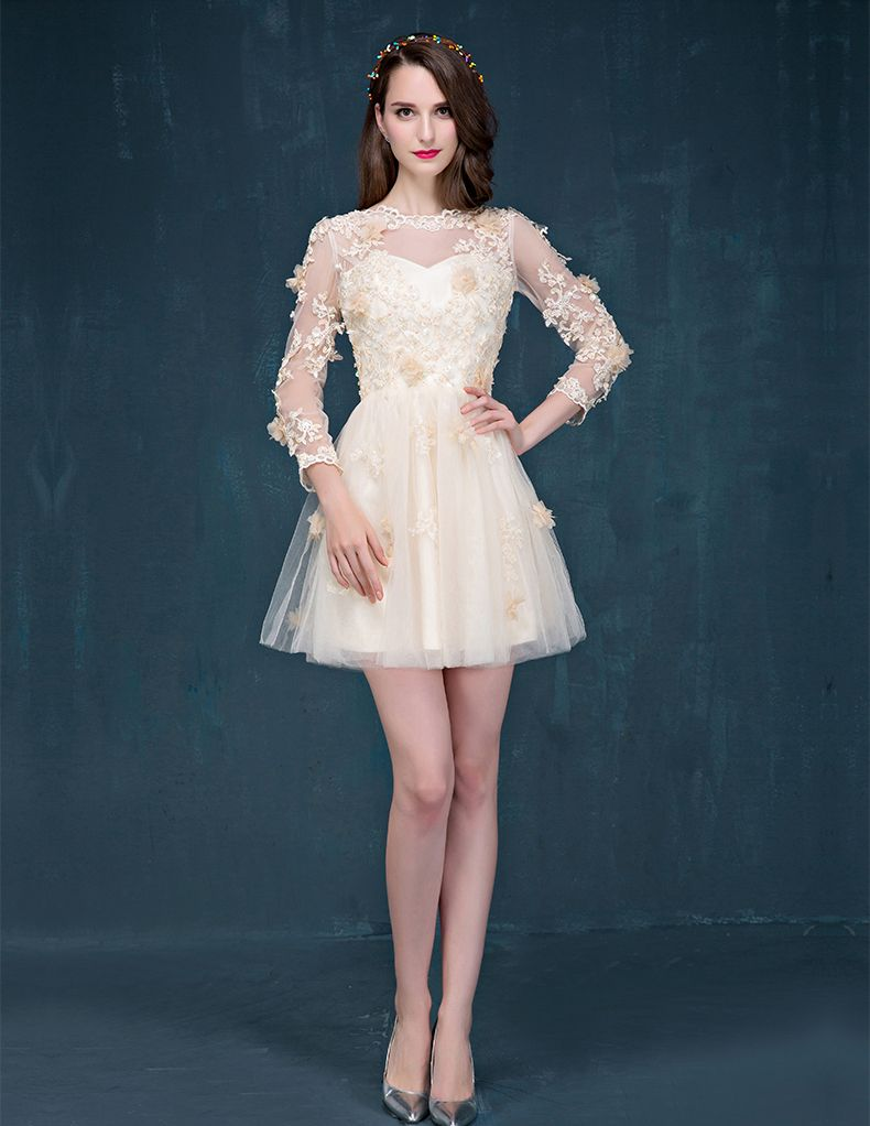 Champagne sleeve short prom dress lace cocktail dress for Champagne lace short wedding dress
