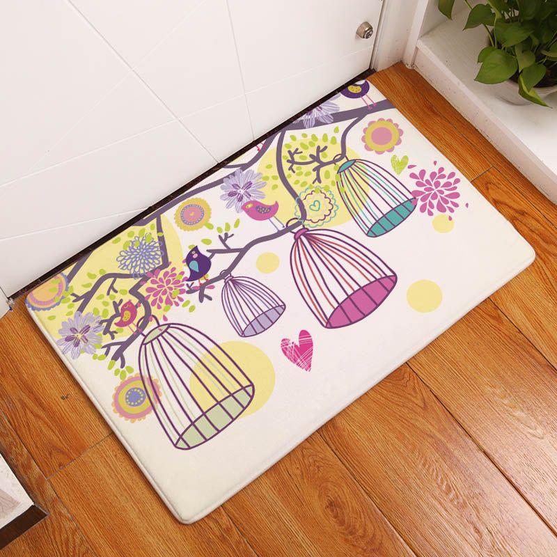 Flannel Floor Mats Cartoon Bird Printed Bathroom Living Room Carpets