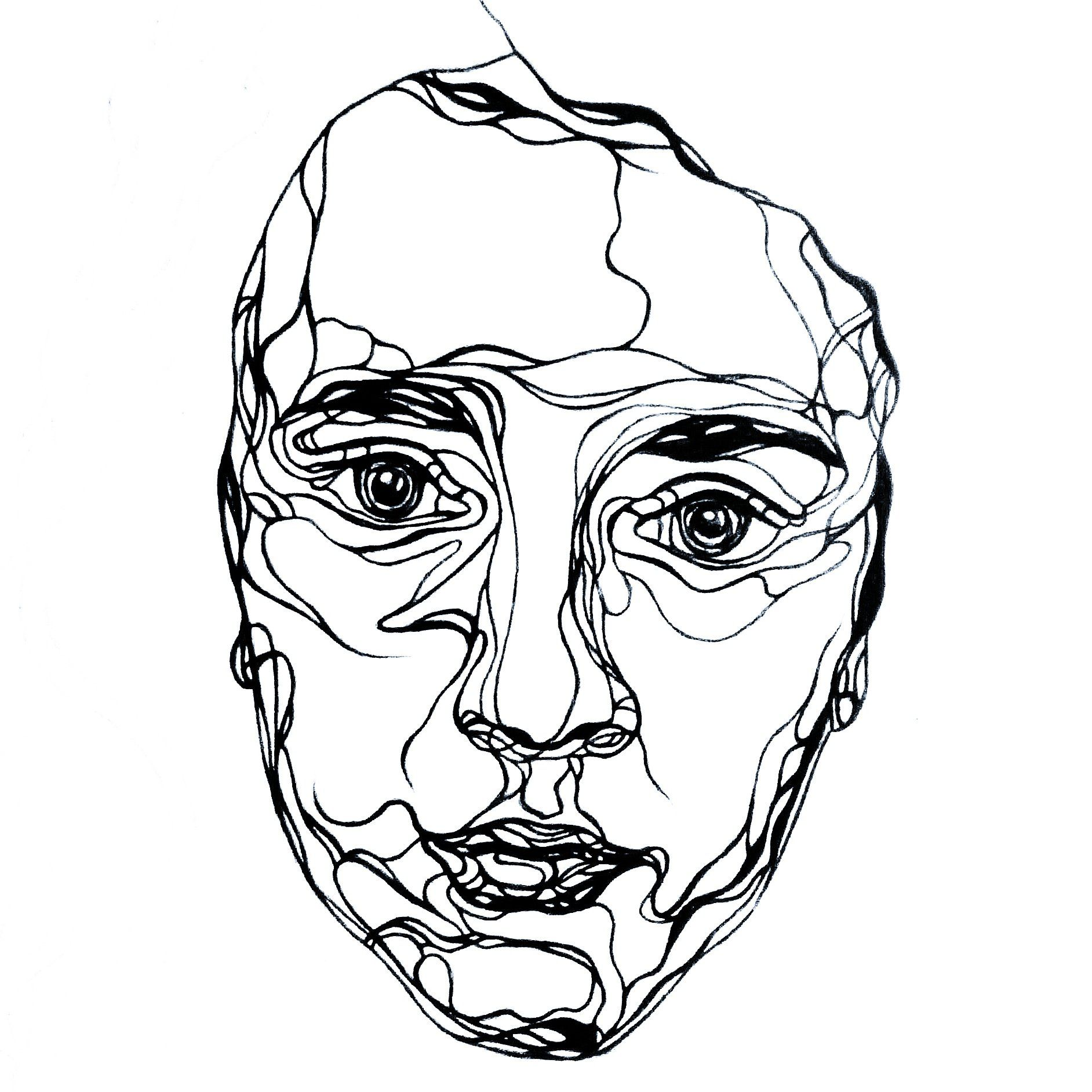 Single Line Self Portrait Ink Karis Miller Art