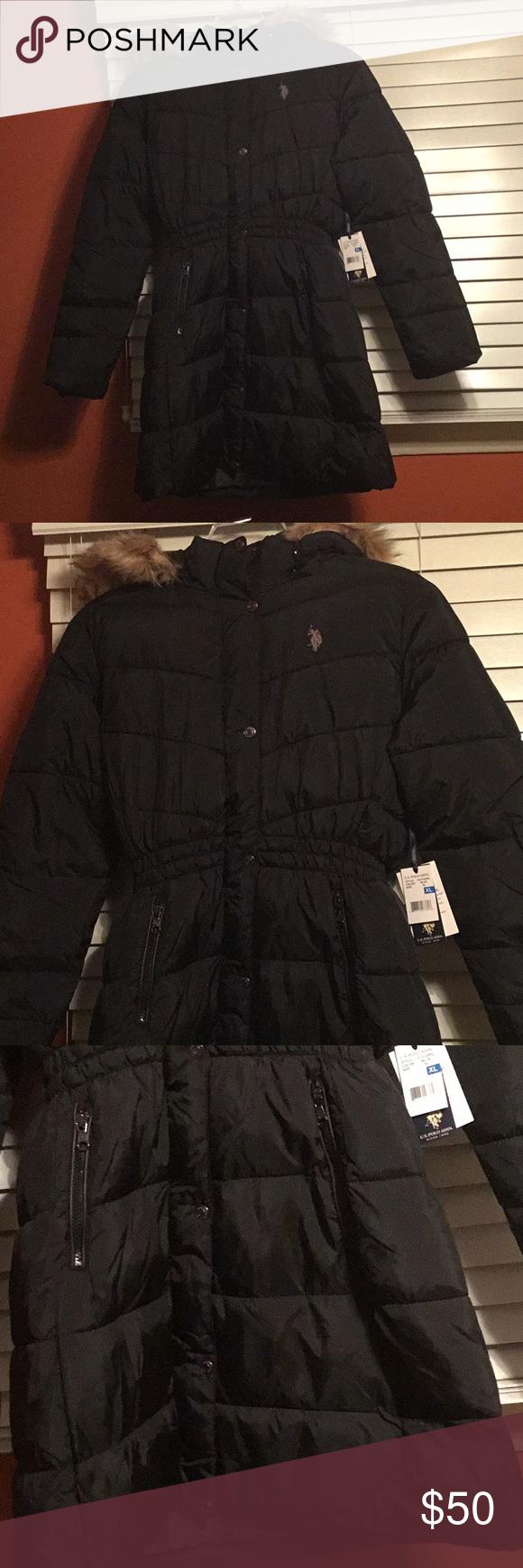 U.S. Polo Long Puffer Coat w/Faux Fur Trimmed Hood NWT