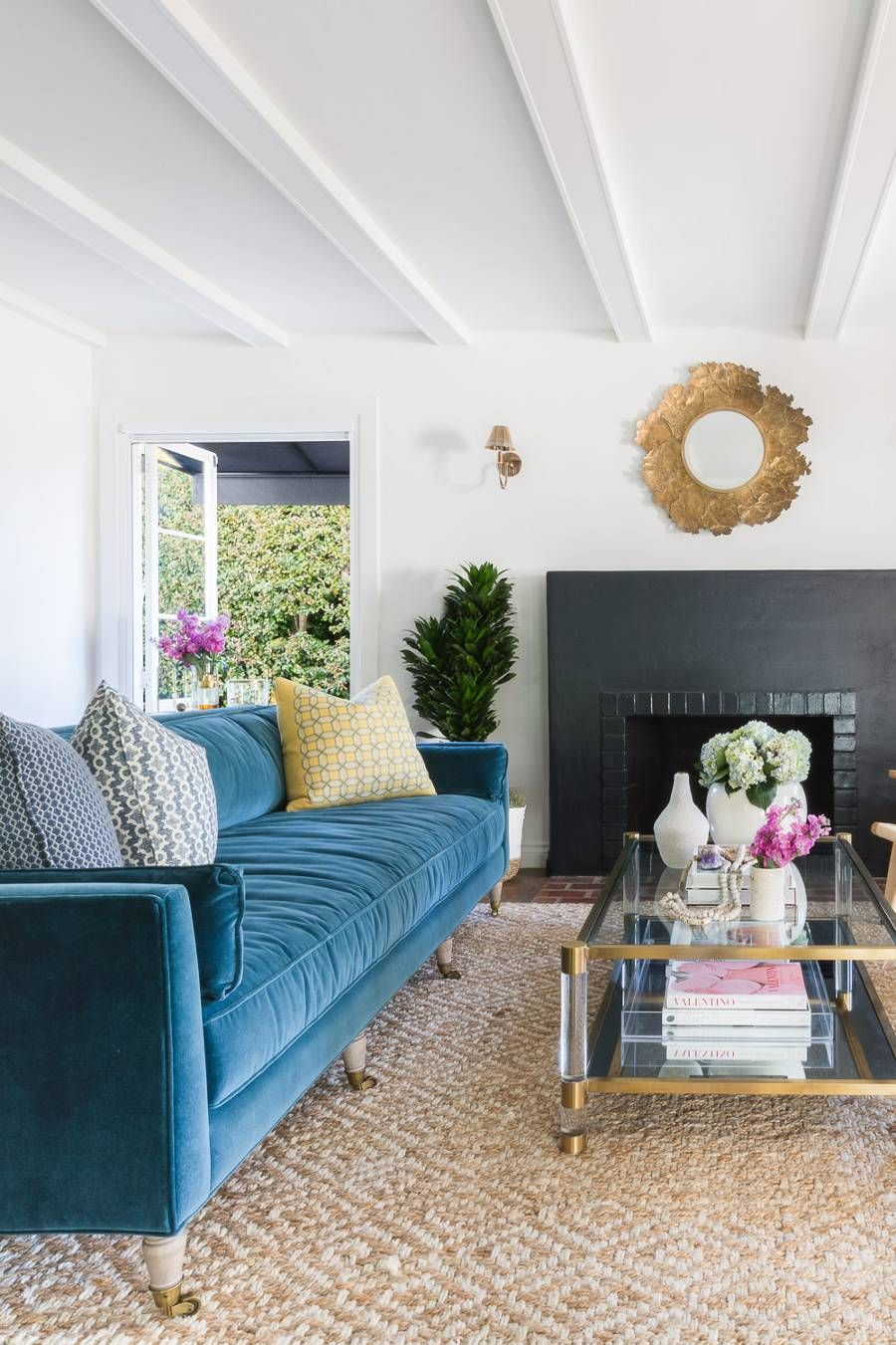 Inside A Refreshing Santa Barbara Home With Bursts Of Sage And Blue With Images Home Transitional Living Rooms