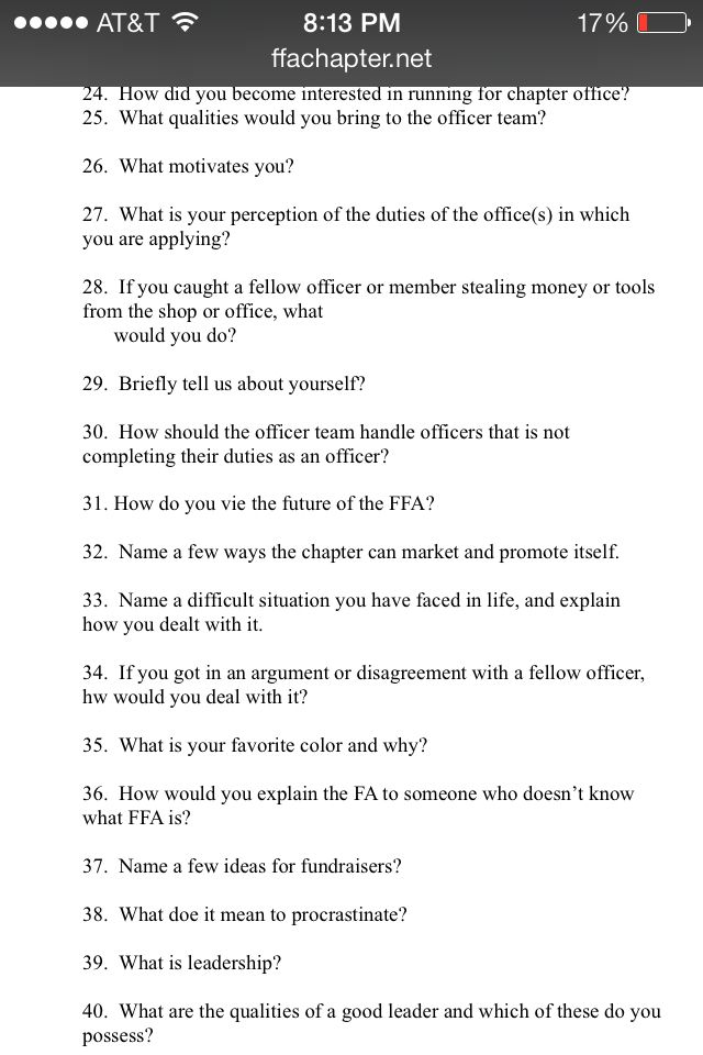 FFA sample leadership officer interview questions | FFA/SHOWING PIGS