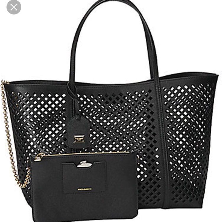 Dolce And Gabbana Black Leather Perforated Tote.