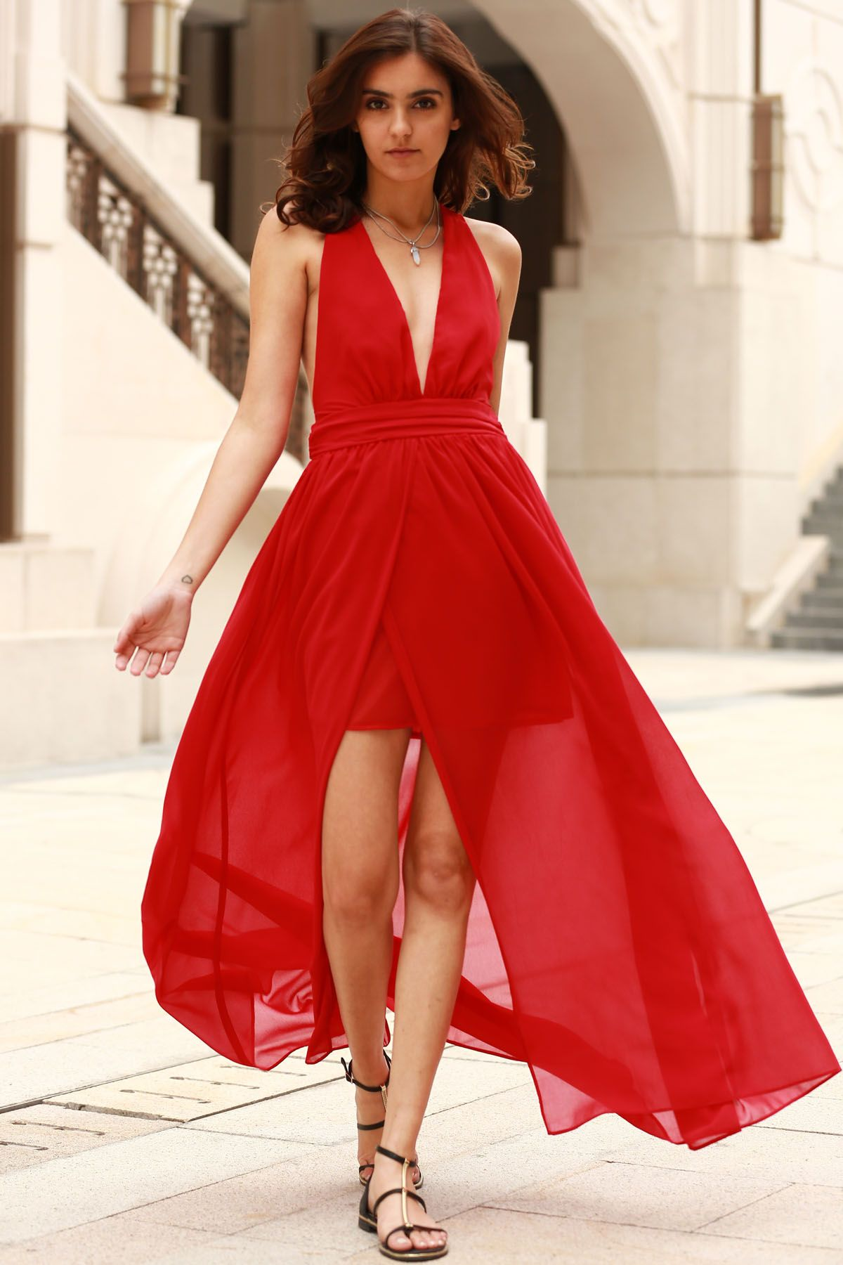 Plunging v neck backless prom dress red maxi dresses red maxi and