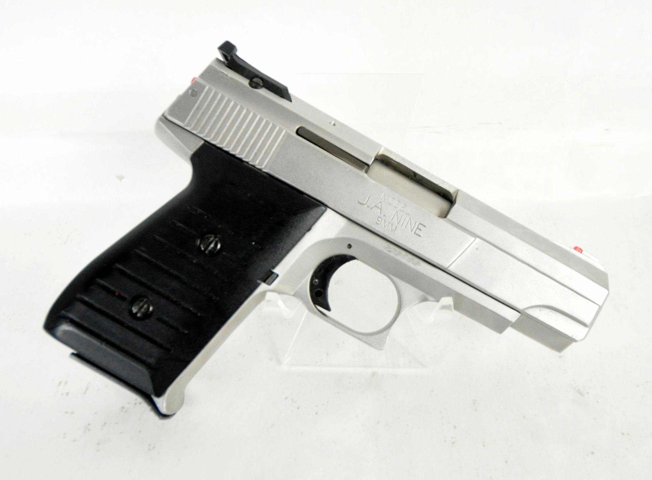 Jimenez Arms J A  Nine Satin Nickel 9mm  This 9mm DAO handgun from