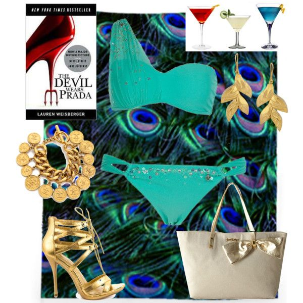 Greek High Beach Day: Hera by becka-ramey on Polyvore featuring Miss Me, Shoe Republic LA, Chanel, Virzi+De Luca, Lilly Pulitzer and Prada
