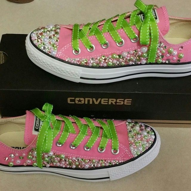 Pink and green embellished Converse sneakers . | shoes I