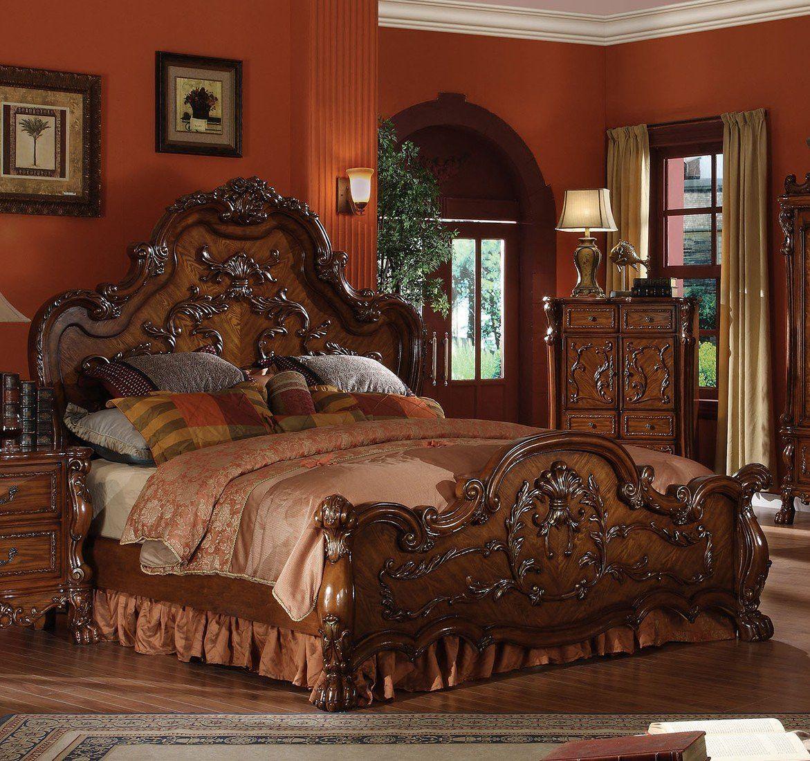 ACME Dresden Queen Bed Cherry Oak - 12140Q | Traditional ...