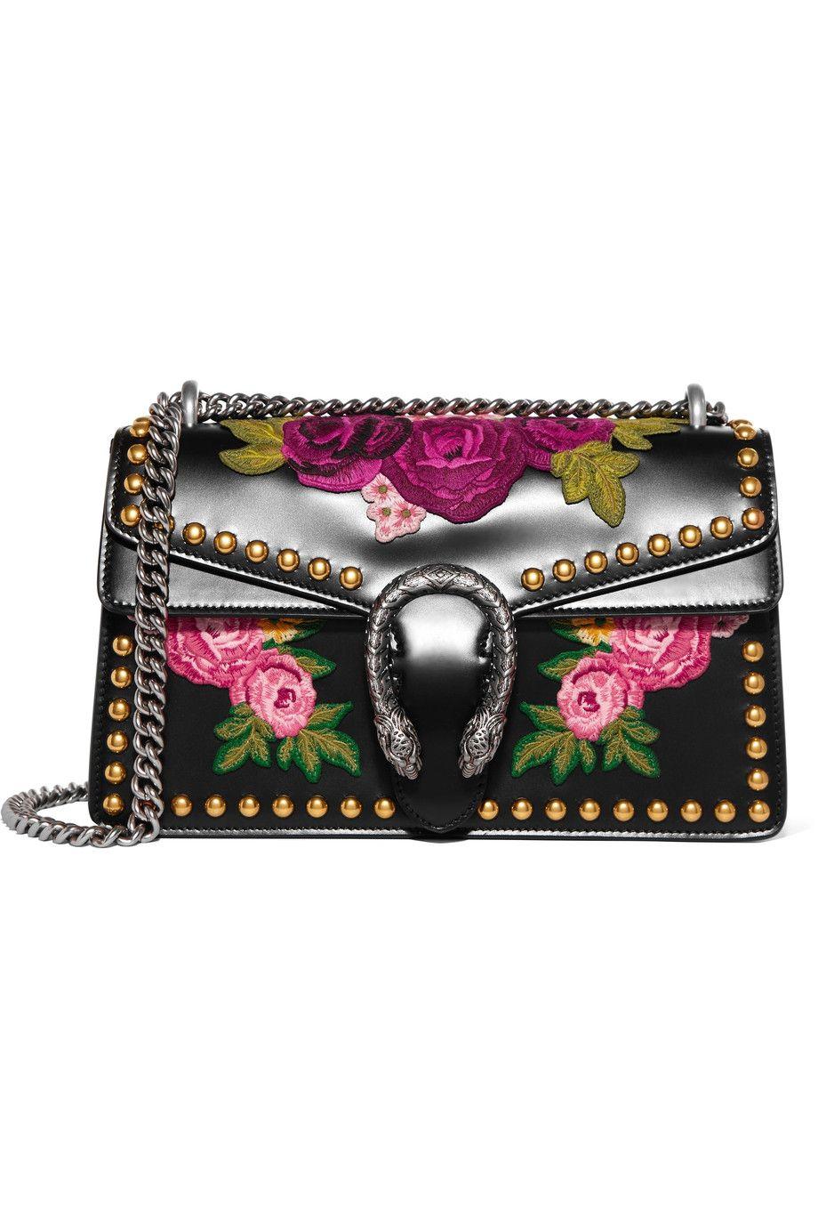 GUCCI Dionysus studded appliquéd leather shoulder bag ...