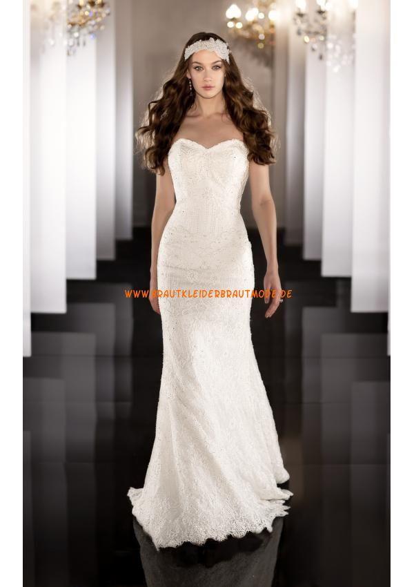 Sexy modische weiße Brautmode aus Satin und Organza mit Applikation