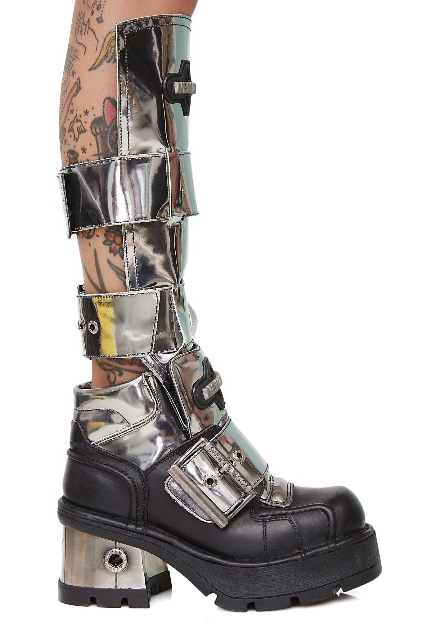 4bf7fd25aa9 New Rock Buckled Up Chrome Boots make ur robo-dreams come true! These sikk