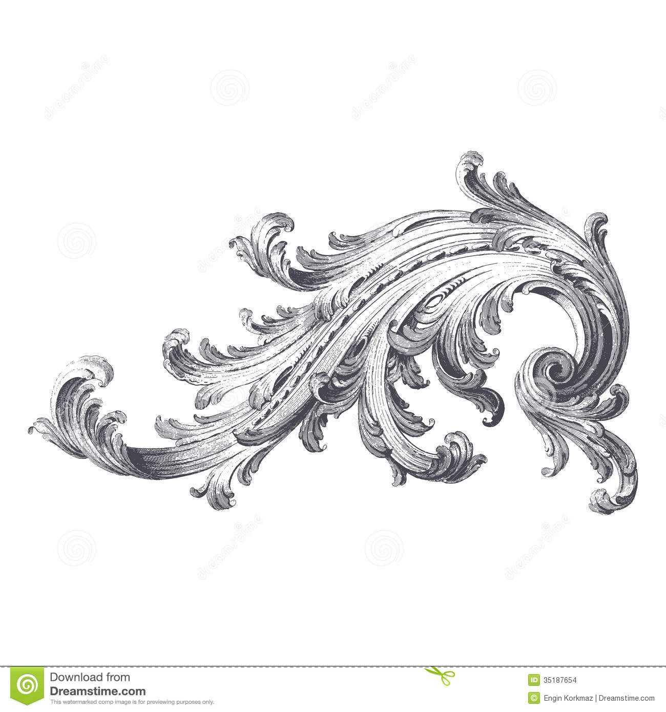 Acanthus pattern ancient engraving of acanthus scroll for Acanthus leaf decoration