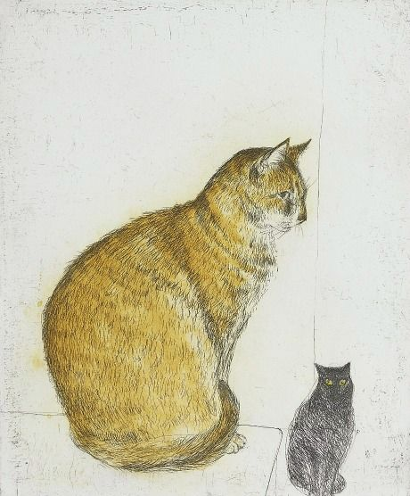 Elizabeth Blackadder  Cat Study  20th - 21st century