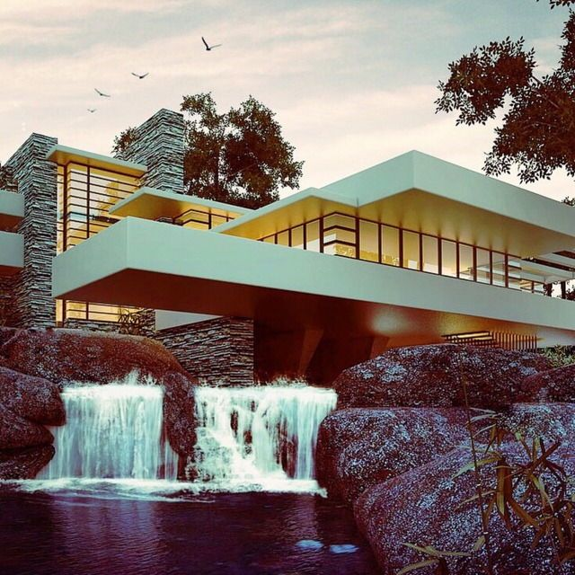 FRANK LLOYD WRIGHT, Falling Water House, Pennsylvania, USA, 1935