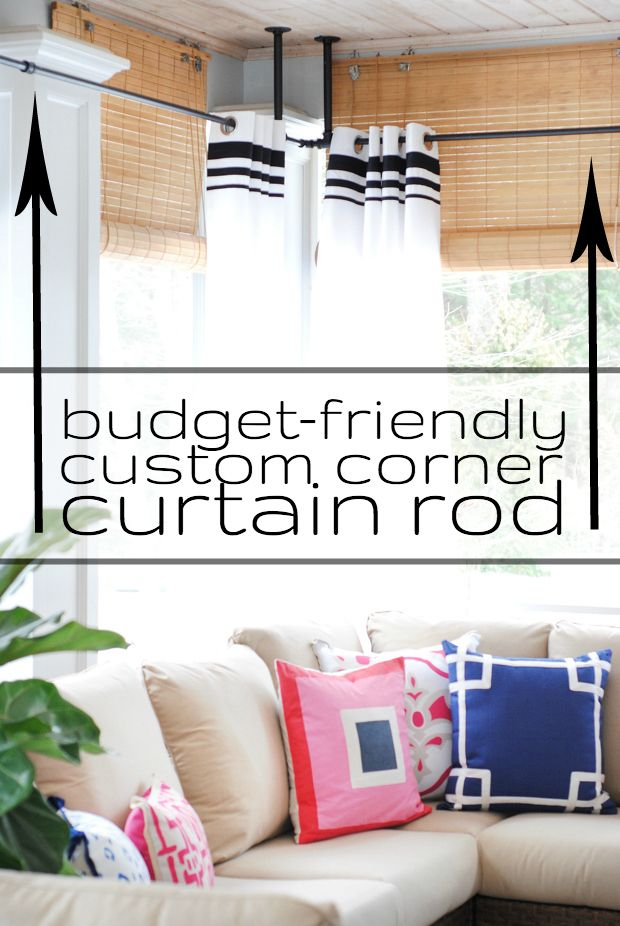 Diy Budget Friendly Custom Corner Curtain Rod Corner Curtain Rod