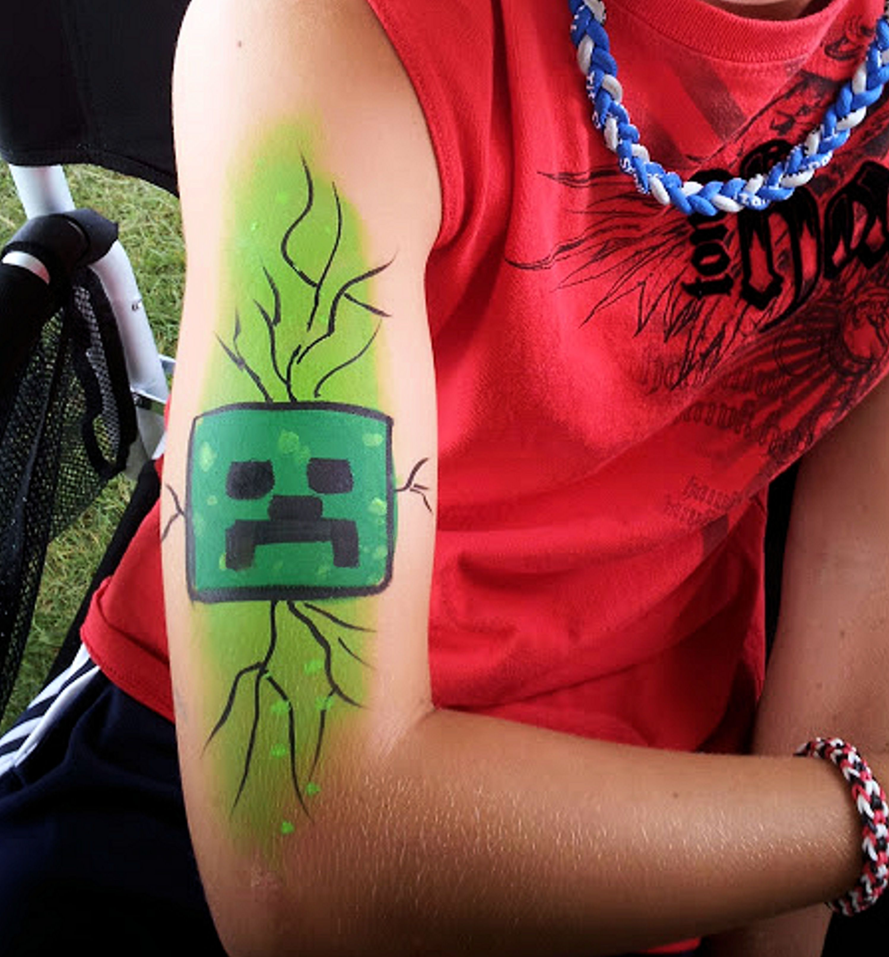 Minecraft creeper face/arm art #chicagofacepainter #Geneva ...