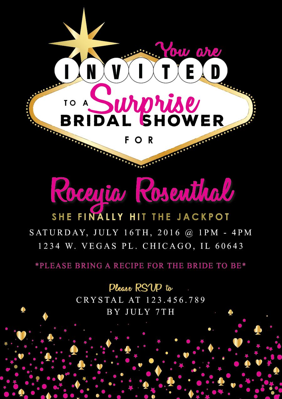 pink and gold vegas themed bridal shower invitation