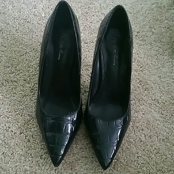Black stilettos Charlotte Russe black print stilettos.   Worn once.  No damage on the outside or inside.   No tags or box Charlotte Russe Shoes Heels