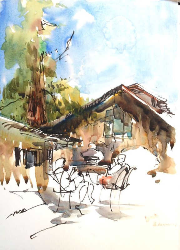 Wine And Sketching Go Together Well Sketches Watercolor Sketch