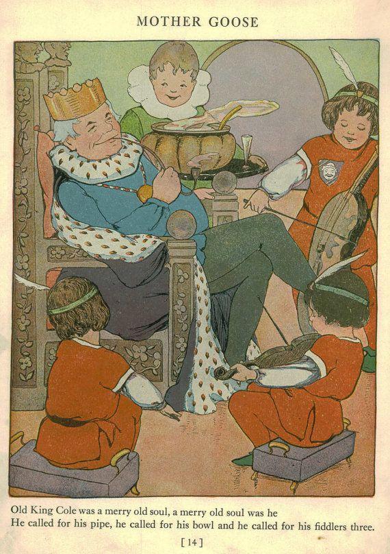Mother Goose Nursery Rhymes Prints Vintage Storybook Print Old King Cole