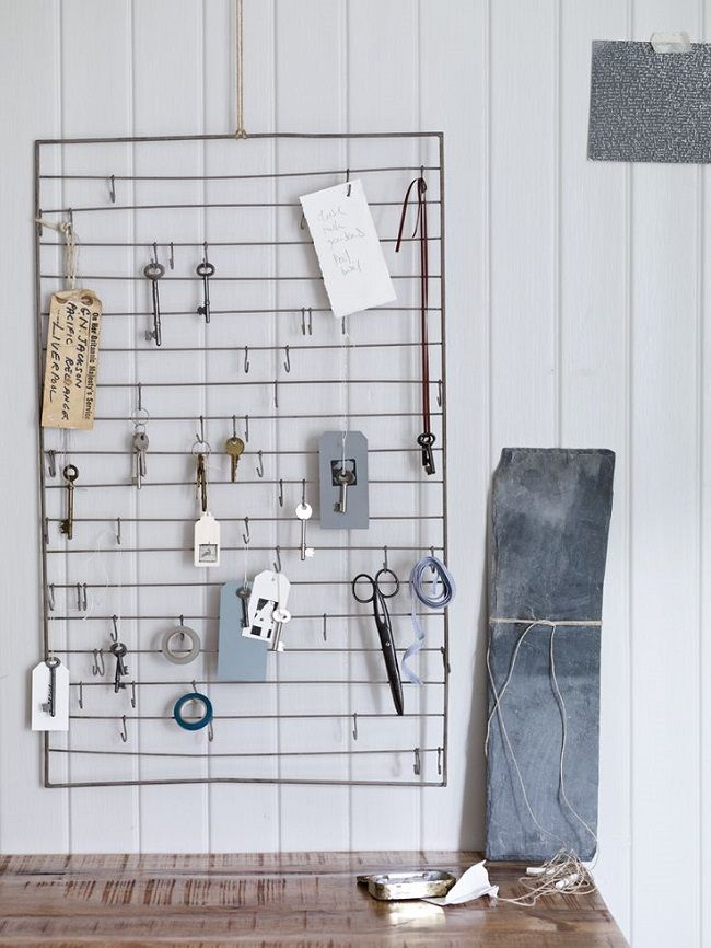 home office ideas wire wall rack with hooks