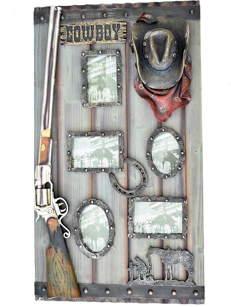 Quadro Porta Retrato Rústico Faroeste Espingarda Chapéu Produto feito em  madeira na cor lilás e enfeitado 0f534a215ea
