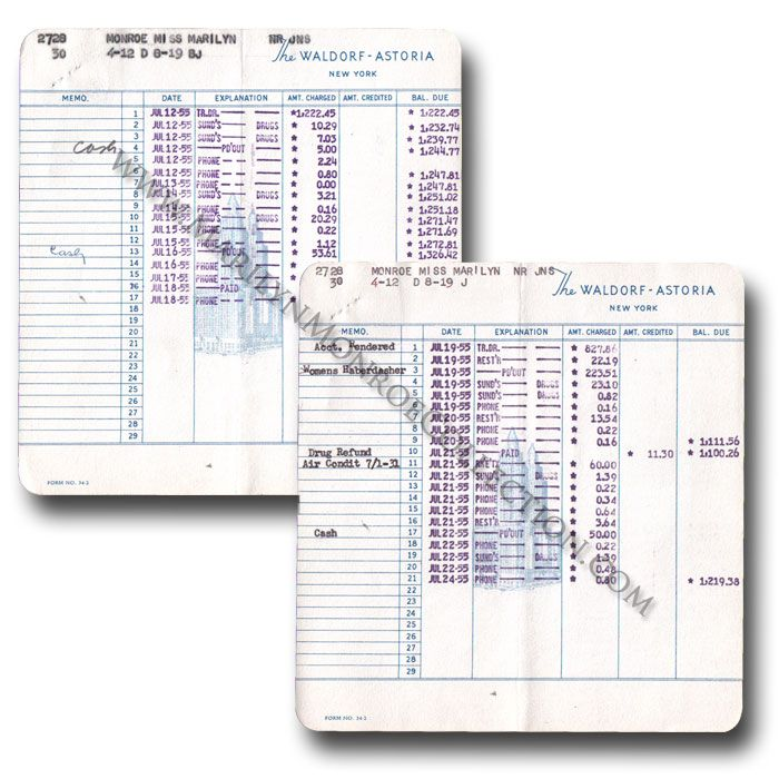 Marilyn Monroe\u0027s Personal Waldorf-Astoria Hotel Invoices July, 1955