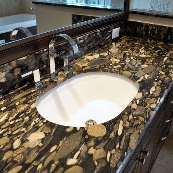 Beautiful Bathroom With Granite Countertops. Pebble Creek Gold Granite Features Striking Colors