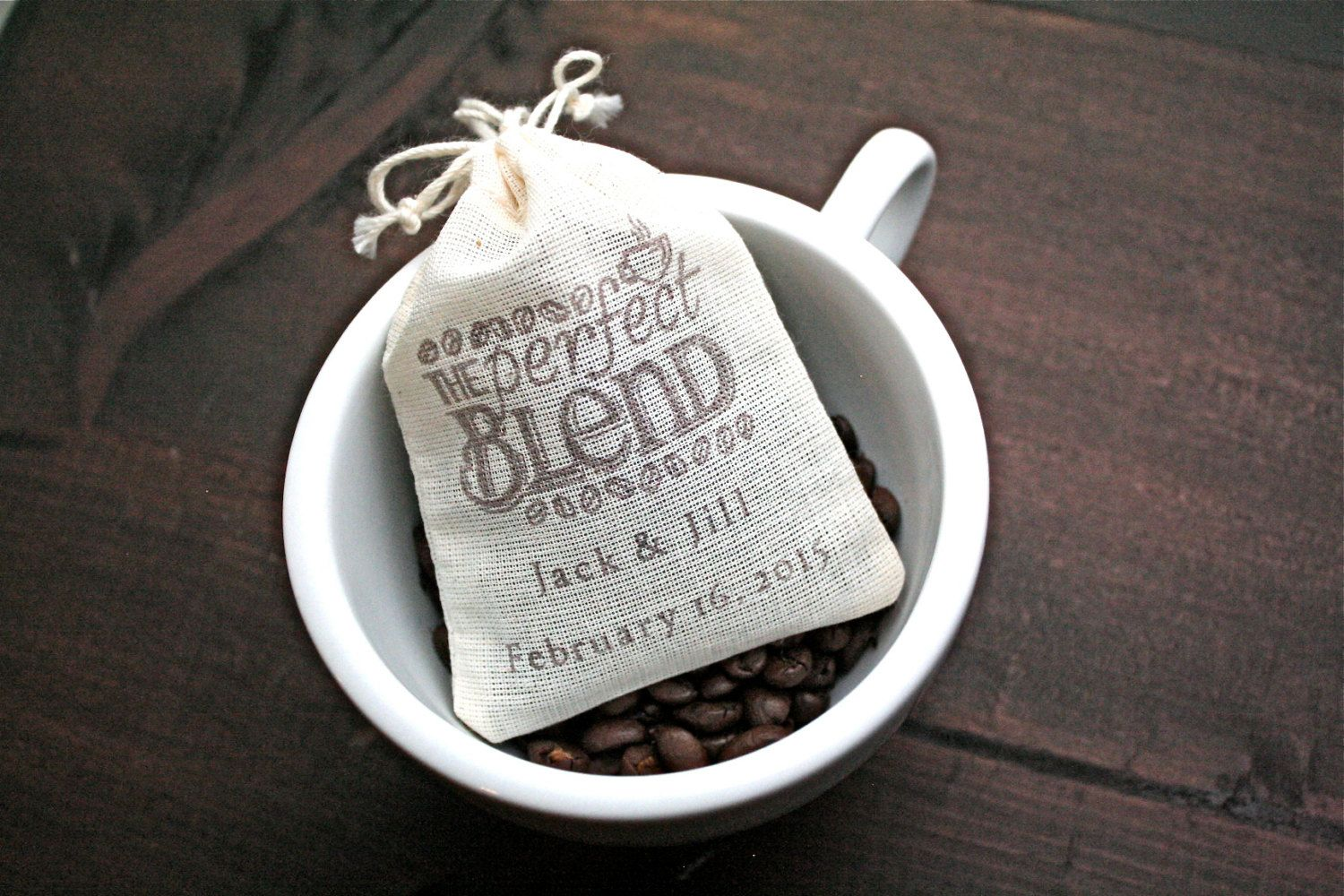 Personalized Coffee Favor Bags for Wedding, Shower, Party
