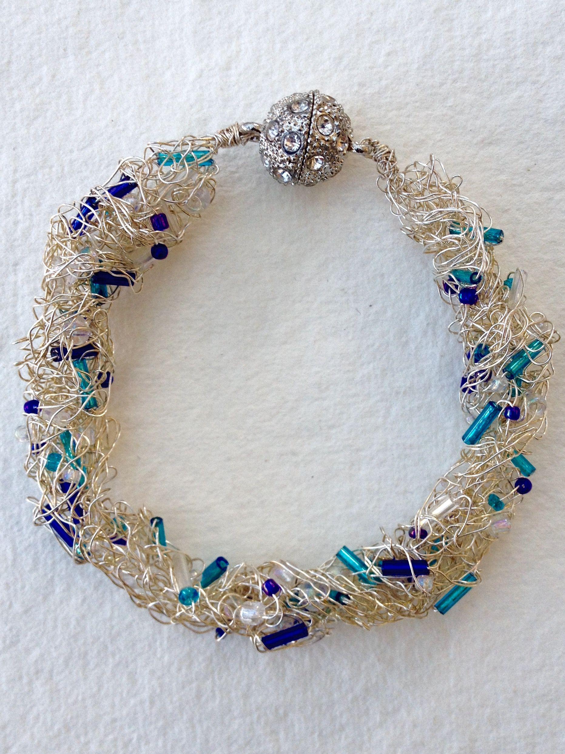 Silver wire crochet bracelet: made by M(e) | κοσμηματα | Pinterest ...