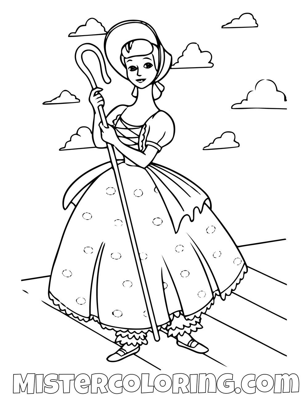Little Bo Peep Toy Story Coloring Page Toy Story Coloring Pages
