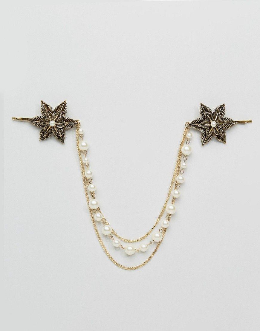 Vintage Flower & Pearl Hair Clips