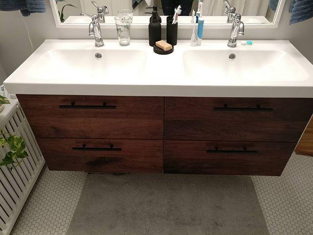ikea hack walnut godmorgon Bathroom Pinterest Ikea hack - ikea meuble salle de bain godmorgon