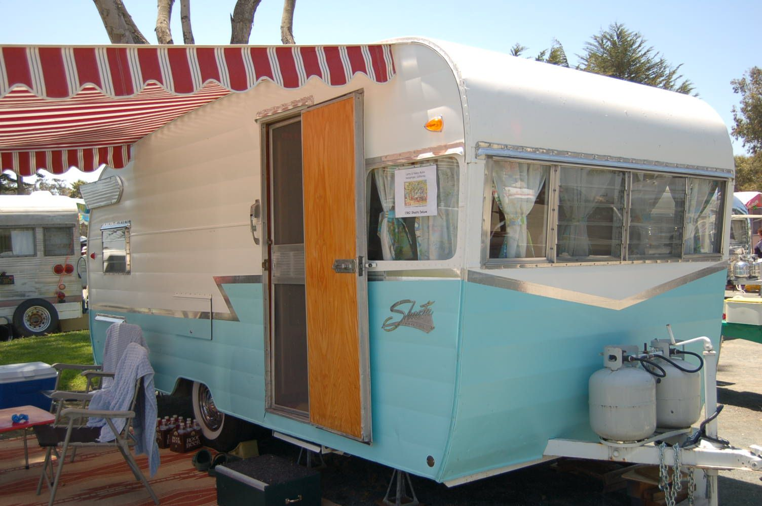 1967 Shasta Compact White Side Awning With Scalloped Edges On A