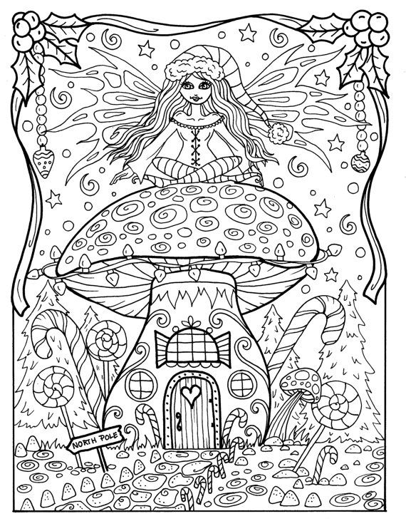 Fairy christmas coloring page adult color fairy house for Christmas fairy coloring pages