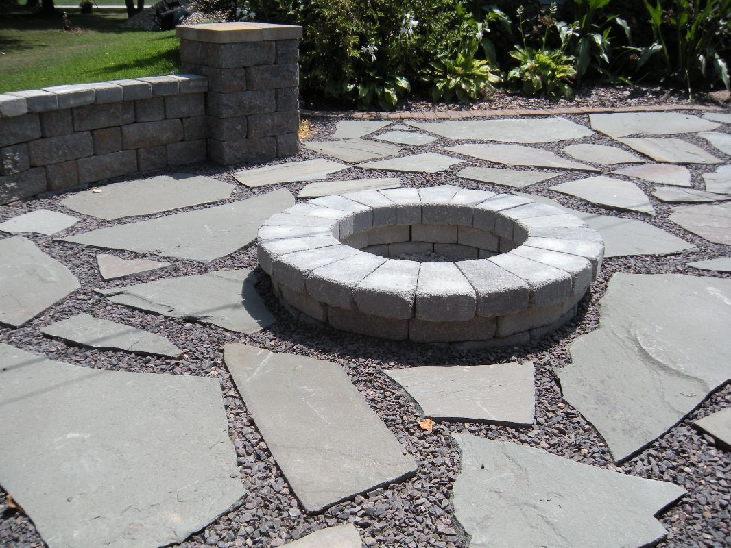 Natural Stone Patio in Decorative Rock/ Stone Burn Pit ... on Rock And Stone Outdoor Living id=91106