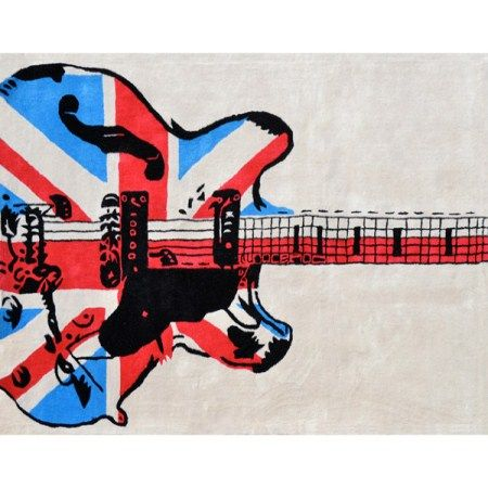Cool Electric Guitar Rug With The British Union Jack Flag. Great Accent  Piece For Your