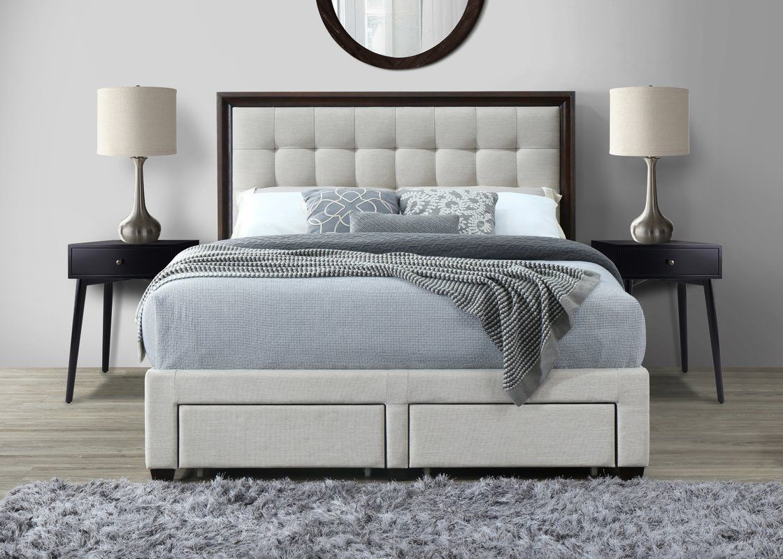 Abril Queen Upholstered Storage Panel Bed Upholstered Platform Bed Upholstered Storage Bed