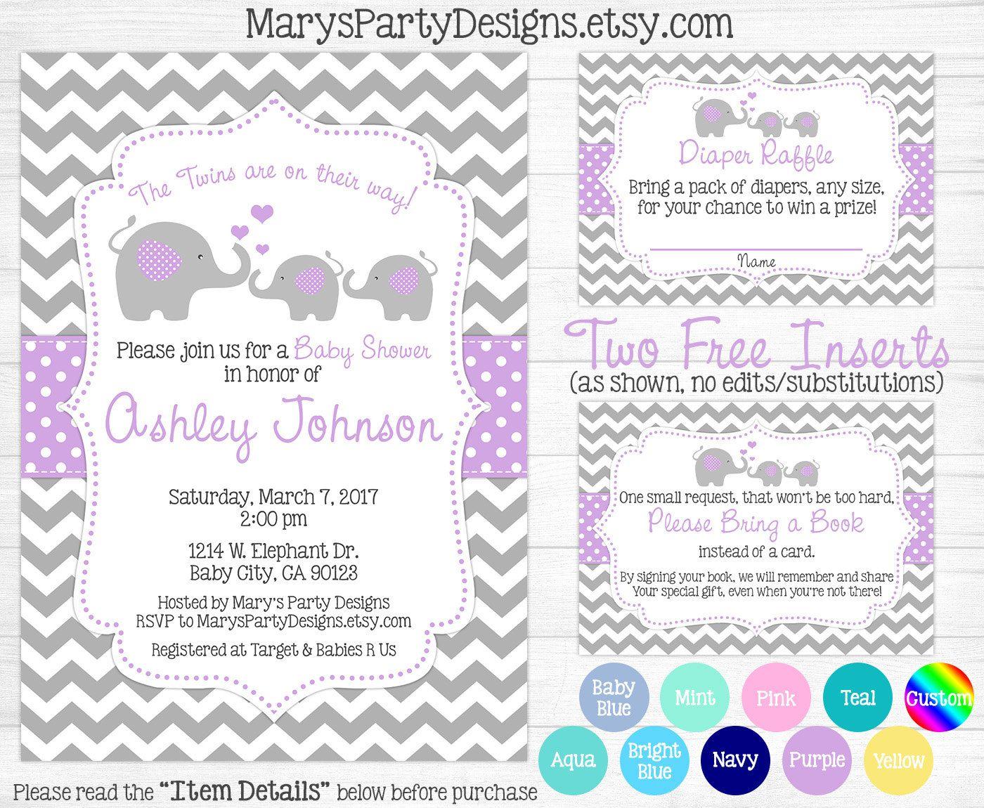 Elephant Twins Baby Shower Invitation - Aqua Blue Mint Teal Boy Girl ...