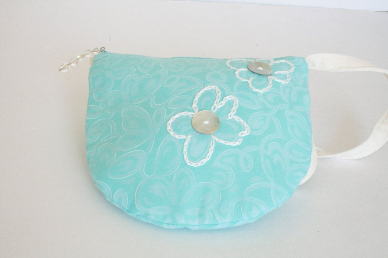 Purse with Shoulder Strap - Blue with White Embroidered Flowers by EverSewNice on Etsy