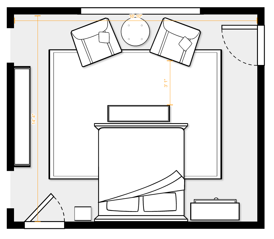 Layout For 16 10 Quot X 14 4 Quot Room Includes King Sized Bed 9