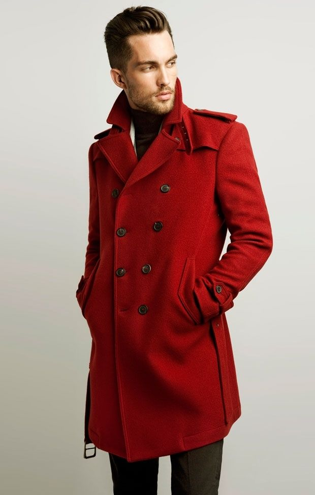 Red Pea Coats For Men