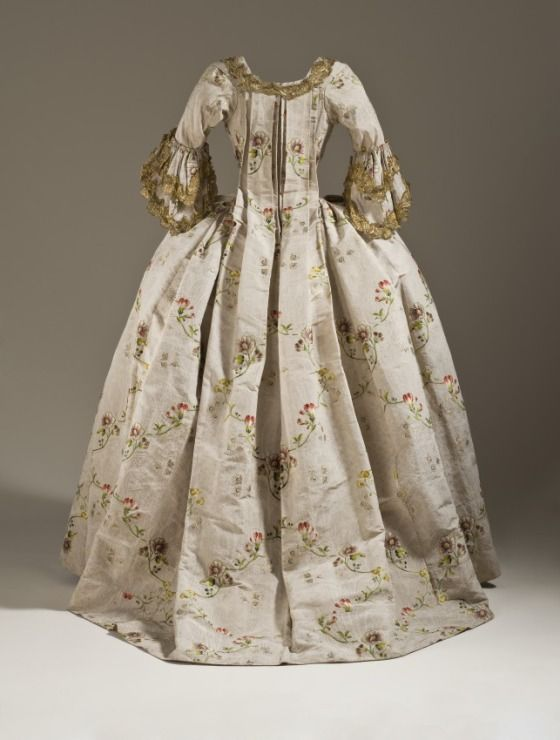 b739423edef Rococo Fashion from 18th century ball gown dress Robe a la Francaise circa  from France or England in 1760-1765.  Historical  Costume made from silk  plain ...