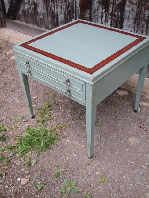 Sage Green And Burgundy Leather Top Table By Funcycled On